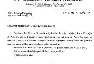 Peticijų komisijos nutarimas dėl Punios šilo peticijos svarstymo